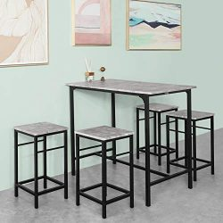 Haotian OGT11-HG, 5 Piece Dining Set,Dining Table with 4Stools,Home Kitchen Breakfast Table,Bar  ...
