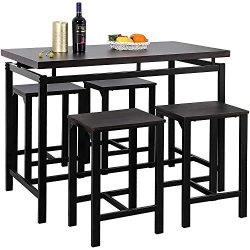 MOOSENG, 5 Pieces Dining Set, Wood Elegant Pub Height Table and 4 Backless Stools, Perfect for B ...