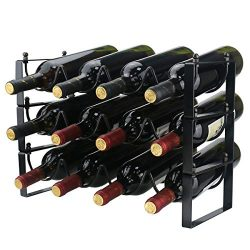 Ogrmar 3 Tier Stackable Wine Rack Countertop Cabinet Wine Holder Wine Storage Shelf Hold 12 Bott ...