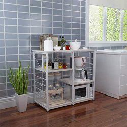Vintage Kitchen Baker's Rack Utility Storage Shelf 35.4″ Microwave Stand 3-Tier+3-Ti ...