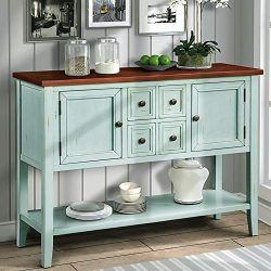 P PURLOVE Console Table Buffet Sideboard with Storage Drawers Cabinets and Bottom Shelf (Retro Blue)