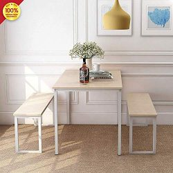3 Pieces Set 2 Benches Kitchen Dining Room Furniture Modern Style Wood Table Top with Metal Fram ...