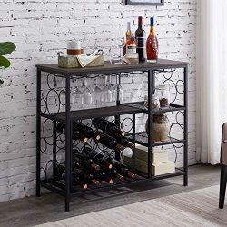 Hombazaar Industrial Wine Rack Table with Glass Holder, Metal and Wood Wine Bar Cabinet with 20  ...