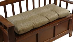 Klear Vu The Gripper Non-Slip Tufted Omega Universal Bench Cushion, 36″, Gold