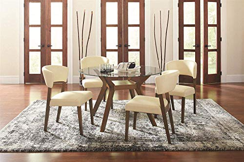 Coaster Home Furnishings Paxton 5-Piece Dining Set with Upholstered Nutmeg and Cream
