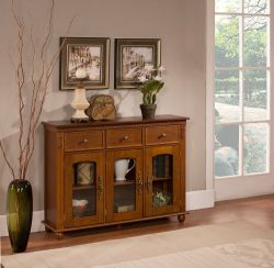 Kings Brand Furniture – Penrose Wood/Glass Sideboard Buffet Cabinet, Walnut