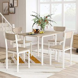 FLIEKS 5-Piece Modern Dining Table Set with A Drop Leaf Dining Table and 4 Chairs Home Kitchen F ...