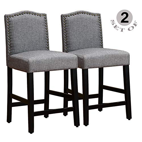 GOTMINSI Bar Stools Set of 2, 24 Inches Height Counter Stools, Upholstered Bar Stools with Antiq ...