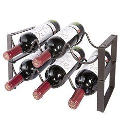 Stackable Wine Rack 2 Tier 6 Bottles Capacity Wine Storage Holder Heavy Duty Free Standing Metal ...