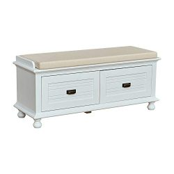 Ravenna Home Classic Solid Pine Storage Bench, 45″W, White Wash Finish