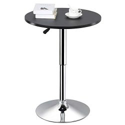 Yaheetech Adjustable Round Pub Table Counter Bar Height MDF Top Table 360 Degree Swivel Bar Tabl ...