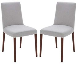 Rivet Contemporary Square-Back Armless Dining Chair, 34″H, Felt Gray, Set of 2, Queen