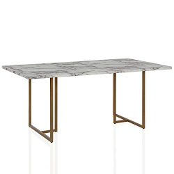 CosmoLiving by Cosmopolitan DL8880 CosmoLiving Edith Rectangular Faux Marble, White with Brass G ...