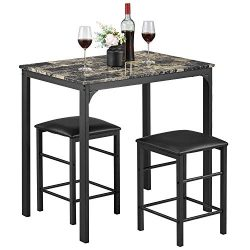 kealive Dining Table Set for 2 Chair Kitchen Dining Room Marble Rectangular Breakfast Table and  ...