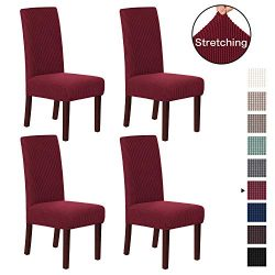 H.VERSAILTEX Dining Chair Slipcover High Stretch Jacquard Dining Room Chair Slipcovers Sets Wash ...
