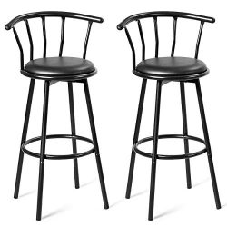 COSTWAY Bar Stools, Modern and Classic Rotatable Counter Pub PVC Leather Chairs, Round Padded Se ...