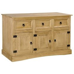 Festnight Buffet Sideboard with Storage Drawers and Shelves Mexican Pinewood 3 Doors Storage Cab ...