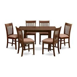 NOFK7-MAH-C 7 Pc Kitchen nook Dining set -Table with Leaf and 6 Dining Chairs