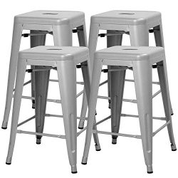 Yaheetech 24 Inches Metal Bar Stools High Backless Indoor/Outdoor Counter Height Stackable Stool ...