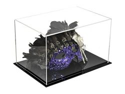 Better Display Cases Versatile Acrylic Display Case, Cube, Dust Cover and Riser with Black Base  ...