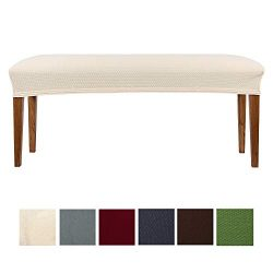 smiry Jacquard Dining Room Bench Covers, Stretch Spandex upholstered Bench Slipcover, Removable  ...