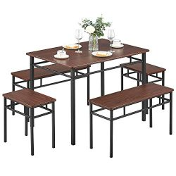 Kealive Dining Table Set with Bench 5 Pieces Modern Wood Table Top 2 Benches and 2 Stools, Dinin ...
