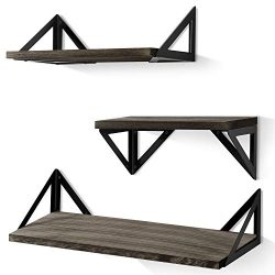 BAYKA Floating Shelves Wall Mounted, Rustic Wood Wall Shelves Set of 3 for Bedroom, Bathroom, Li ...