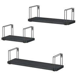 SRIWATANA Rustic Floating Shelves, Wood Wall Shelves Set of 3, Wall Mounted Storage Shelves for  ...