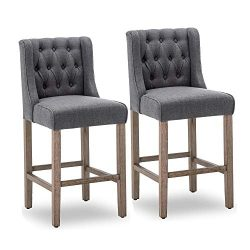 Belleze 40″ Tufted Wingback Fabric Upholstered Counter Stools Dining Chair Set of 2, Gray
