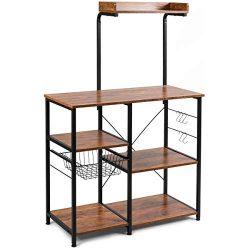 Giantex Kitchen Baker's Rack, 4-Tier Microwave Storage Stand, Utility Storage, Wire Basket ...