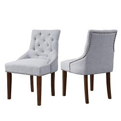 Dining Chair with Armrest, Nailhead Trim, Linen Upholstery Set of 2 (Grey)