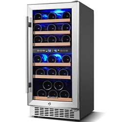 Wine Cooler Dual Zone, Aobosi 15 inch 30 Bottle Wine refrigerator Built-in or Freestanding with  ...