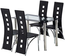 Jewcool 5 Piece Dining Room Table Set, Dinette Set Tempered Glass Table and Waterproof Faux PU L ...