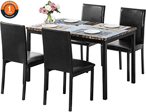 5 Pieces Dining Table Set, Elegant Faux Marble Desk and 4 Upholstered PU Leather Chairs, Perfect ...