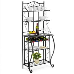 Yizhen-G 5-Tier Black Metal Bakers Decoration Shelf Kitchen Bakers Rack Scroll Design with 5 Bot ...