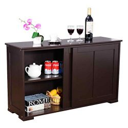 WATERJOY Kitchen Storage Sideboard, Stackable Buffet Storage Cabinet with Sliding Door Panels fo ...
