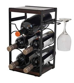 ComfyHouse Rustic Wood Countertop Wine Rack 5 Bottles with Wine Glass Holder/No Assembly