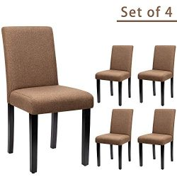 Furniwell Dining Chairs Fabric Upholstered Parson Urban Style Kitchen Side Padded Chair with Sol ...