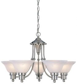Hardware House 544452 54-4452 Bristol 5 Light Chandelier, 24″x15″, Satin Nickel