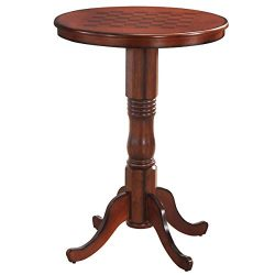 Giantex Table 42″ Wooden Round Pub Pedestal Side Table W/Chessboard, Adjustable Foot Pads, ...