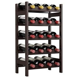 LANGRIA 20 Bottles Wine Rack, 5 Tier Bamboo Wood Holder Display Storage Shelves, Free Standing W ...