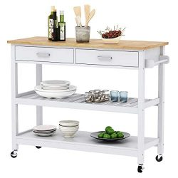 Clevr Rolling Kitchen Cart Island on Wheels Trolley, Cabinet w/Drawer, Shelves Storage Shelf, 10 ...