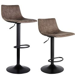 SUPERJARE Set of 2 Bar Stools, Swivel Barstool Chairs with Back, Modern Pub Kitchen Counter Heig ...
