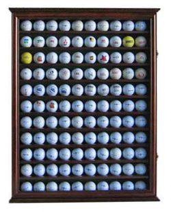 110 Golf Ball Display Case Wall Cabinet Holder Shadow Box, Solid Wood (Walnut Finish)
