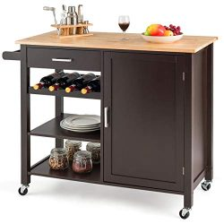 Giantex Kitchen Island Cart Rolling Serving Cart Wood Trolley with Drawer, Storage Cabinet, Wine ...