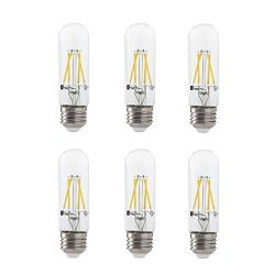 LED 4.5W T10 Clear Tubular Filament Light Bulb, 50W Equivalent, 400 Lumens, 3000K Soft White, E2 ...
