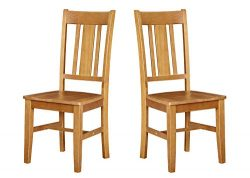 Ravenna Home Classic-Style Solid Pine Dining Chair, 40″H, Honey Pine Finish, Set of 2