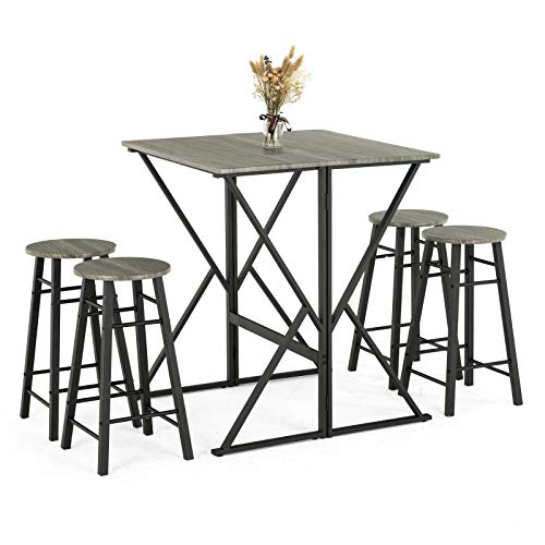mecor 5-Piece Drop Leaf Pub Dining Table Set, Folding High Table with 4 Round Bar Stools for Kit ...