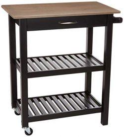 AmazonBasics Multifunction Rolling Kitchen Cart Island with Open Shelves – Reclaimed Grey  ...