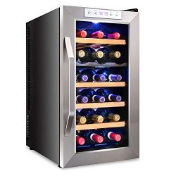Ivation Premium Stainless Steel 18 Bottle Dual Zone Thermoelectric Wine Cooler/Chiller Counter T ...